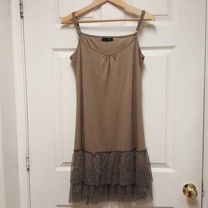 Ryu Cocoa Double Lace Ruffle Tulle Slip Dress